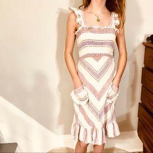 Betsey Johnson Ruffle Smock Linen Dress 2 or 4